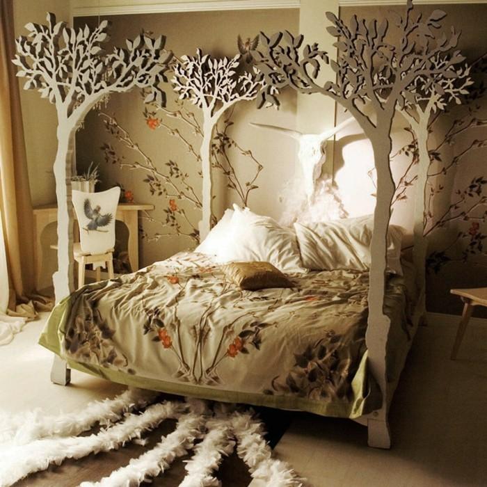 Attrayant Chambre Originale Adulte #9: Chambre-adulte-originale-aux-arbres-ambiance-foret-avec-