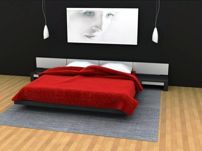 chambre-adulte-originale-lit-avec-couverture-rouge