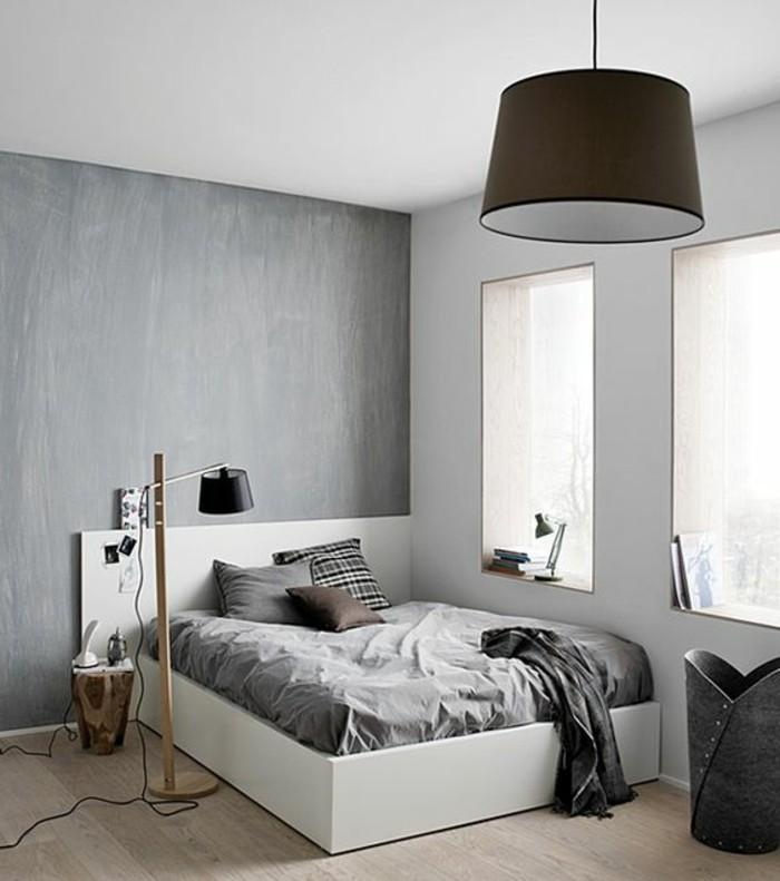 chambre-d-ado-garçon-en-gris-lit-deux-personnes-grand-en-bois-lampe-de-lecture-en-teck