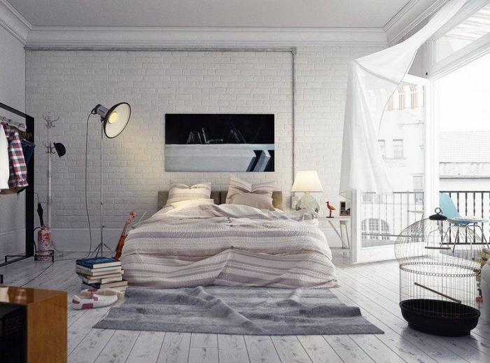 chambre-parentale-décoration-style-loft-briques-blanches