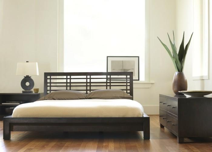 idee-chambre-zen-lit-enorme-en-bois-marron-fonce-resized