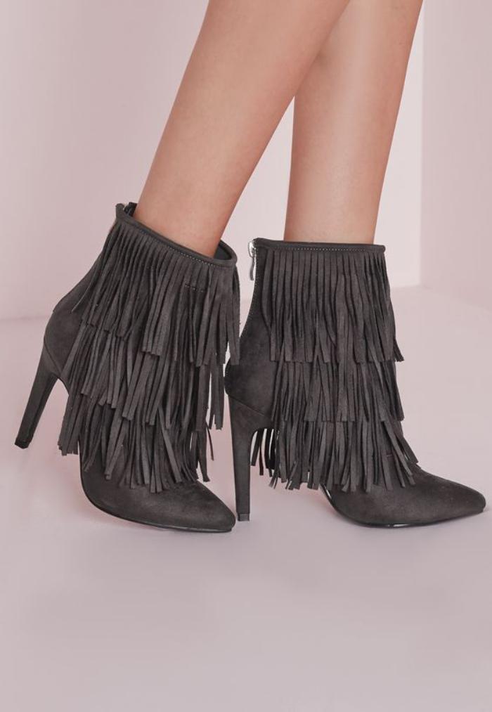 chaussures-à-franges-belles-bottines-grises