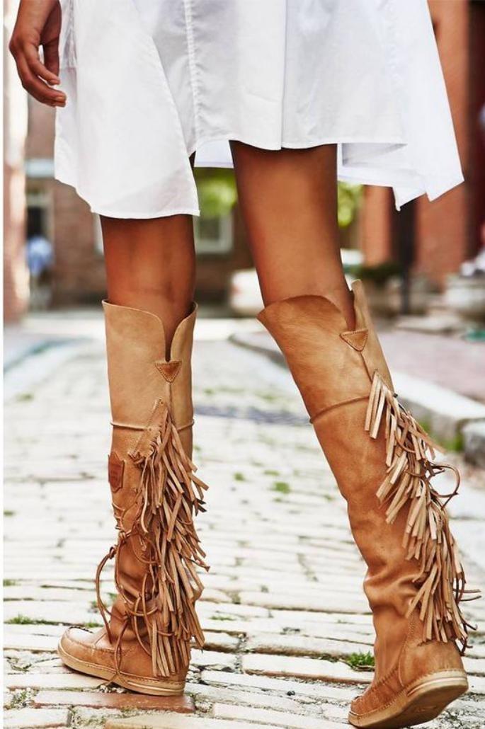 chaussures-à-franges-bottes-longues-camel