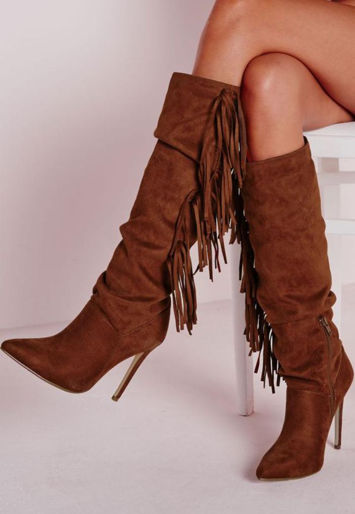 chaussures-à-franges-bottes-longues-femme
