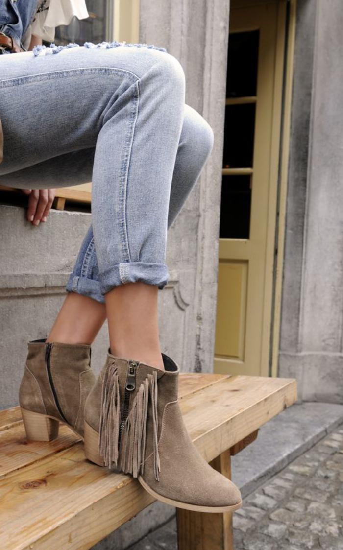 chaussures-à-franges-bottines-à-talon-moyen