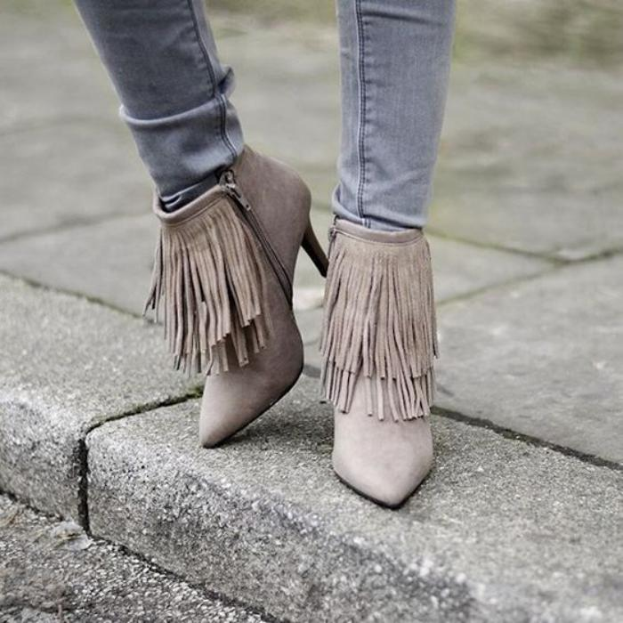 chaussures-à-franges-bottines-pointues-élégantes