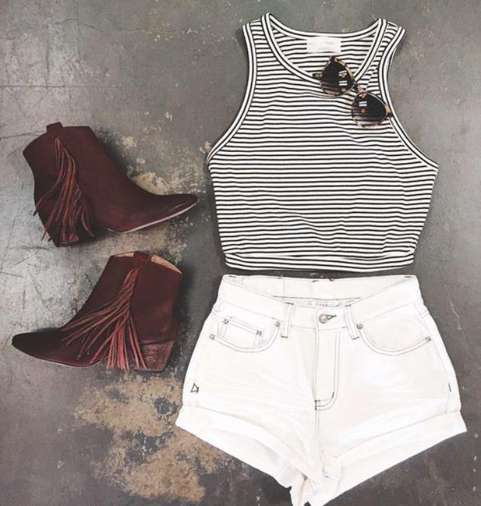 chaussures-à-franges-couleur-marron-outfit-pour-l'été