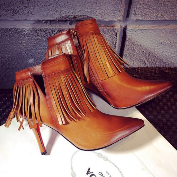 chaussures-à-franges-jolies-bottines-en-cuir-marron