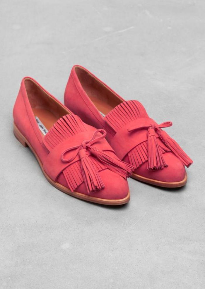 chaussures-à-franges-mocassins-roses