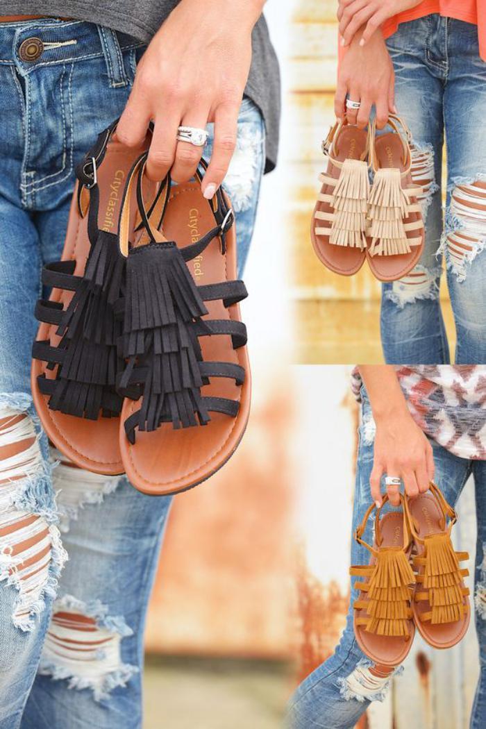chaussures-à-franges-sandales-plates