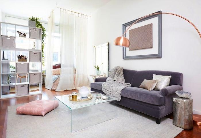aménagement petit studio 20 m2 avec canapé gris, table en verre et coin chambre séparé d un rideau transparent, etagere meuble de separation