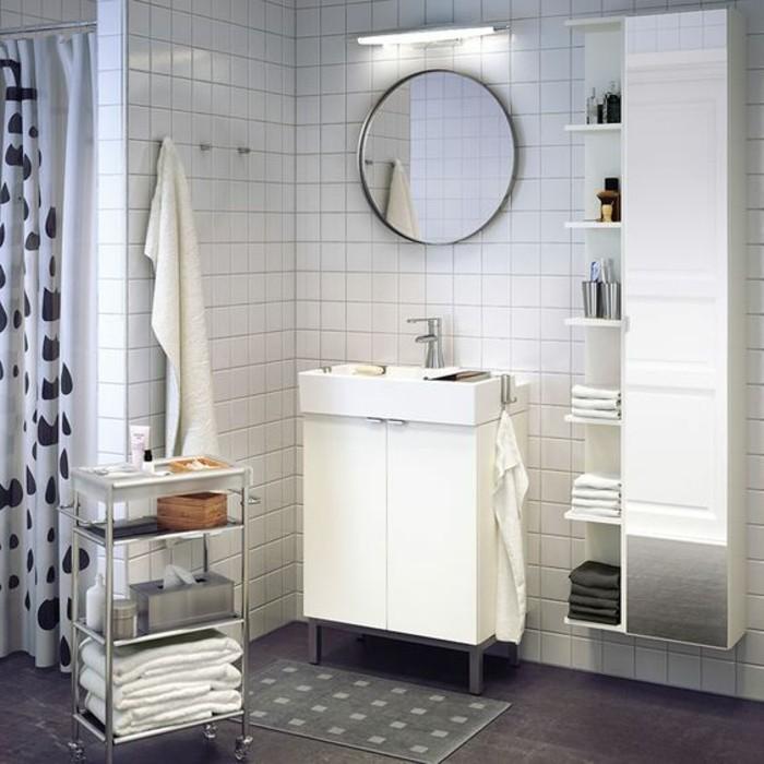 La colonne de salle de bain nos propositions en 58 photos for Miroir rond alinea