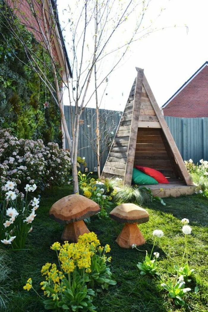 cool-idée-maisonnette-bois-enfant-tipi-superbe-cabane-de-jardin-en-bois-pour-enfants