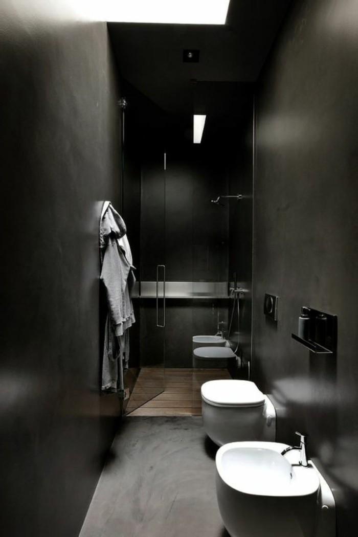 Salle De Bain Verte Et Noire : couleur salle de bain noire, petite salle de bain noire, murs et sol …