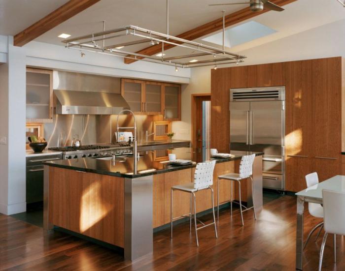 cuisine-avec-bar-américain-déco-cuisine-rustique-moderne