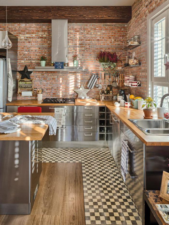 cuisine-avec-bar-bar-dans-cuisine-rustique