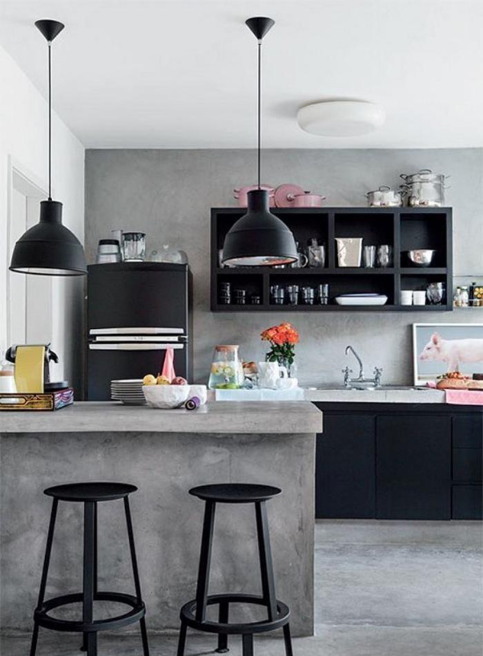 cuisine-avec-bar-bar-de-cuisine-béton-déco-industrielle