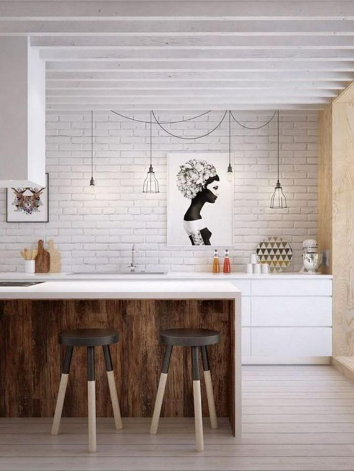 cuisine-avec-bar-bar-pour-cuisine-ouverte-mur-briques-blanches