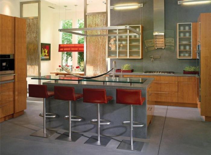 cuisine-avec-bar-comptoir-de-cuisinebéton-ciré
