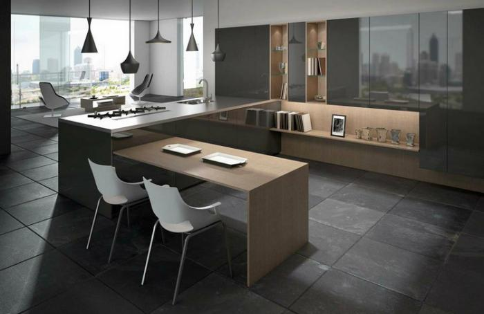 modele cuisine ouverte avec bar avec des. Black Bedroom Furniture Sets. Home Design Ideas