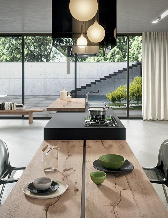 cuisine-avec-bar-plan-de-travail-bar-de-cuisine-en-bois