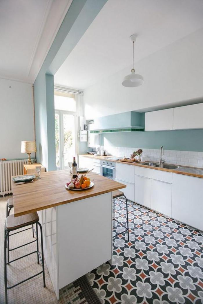 D couvrez nos 84 jolies propositions pour cuisine avec bar - Cuisine peinte en vert ...