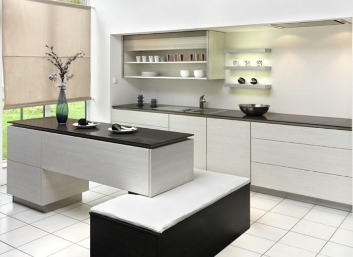 Cuisine blanche avec plan de travail noir 73 id es de - Revetement plan de travail cuisine ...