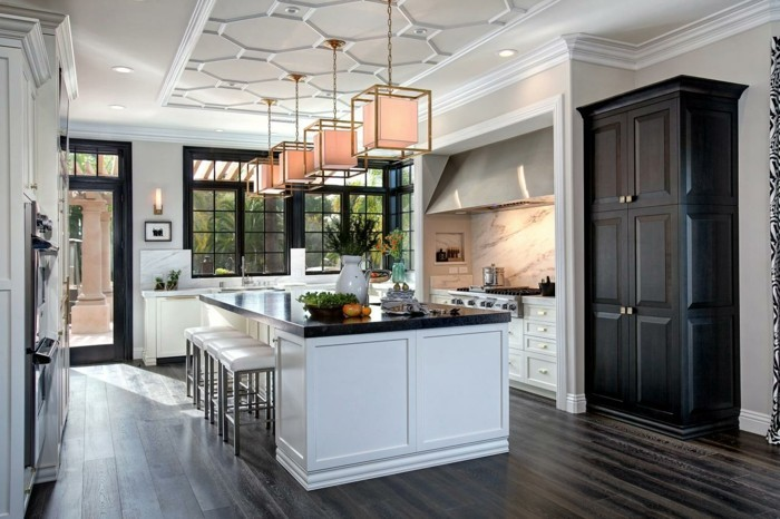 Cuisine blanche avec plan de travail noir 73 id es de for Chef kitchen decorating ideas