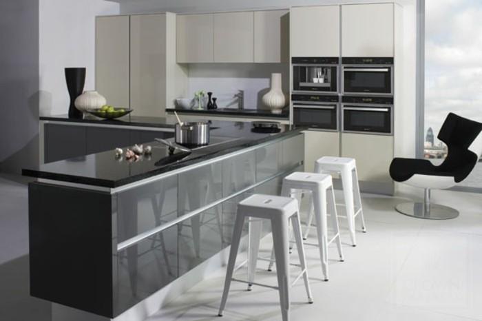Plan de travail cuisine blanc blanc laqu et plan de for Cuisine grise plan de travail blanc