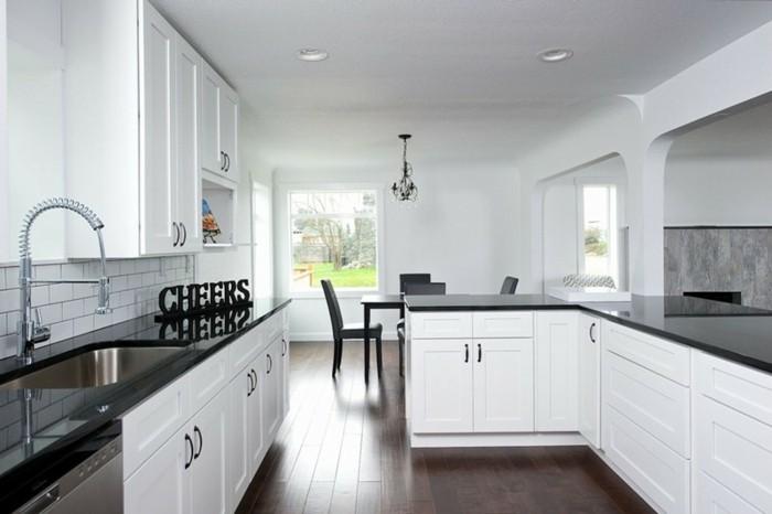 Cuisine Blanche Avec Plan De Travail Noir Idées De Relooking - Canapé 3 places pour relooking de cuisine
