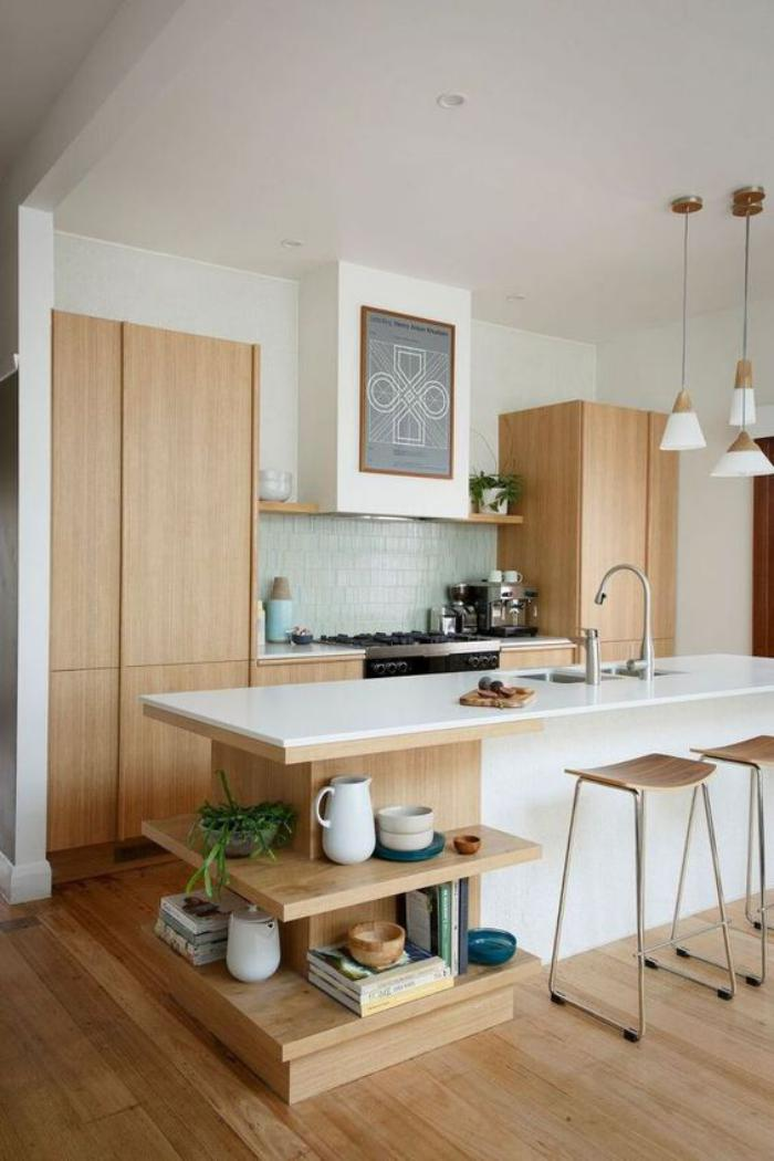 La cuisine blanche et bois en 102 photos inspirantes - Cuisine blanche et bois clair ...