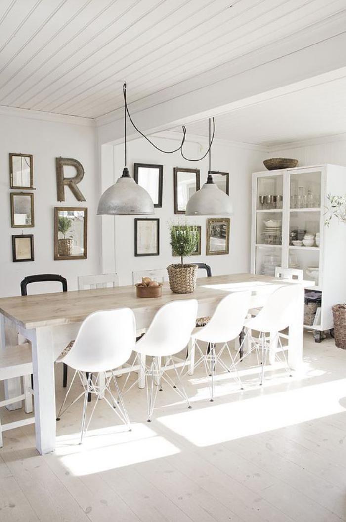 cuisine blanche et bois coin de djeuner table