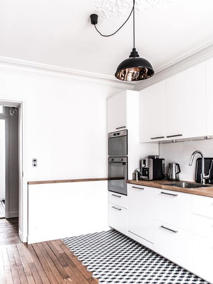 La cuisine blanche et bois en 102 photos inspirantes - Carreaux sol noire ...