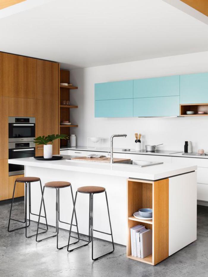 La cuisine blanche et bois en 102 photos inspirantes - Cuisine blanche et bleue ...