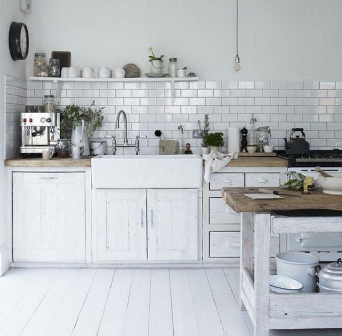 La Cuisine Blanche Et Bois En  Photos Inspirantes  ArchzineFr