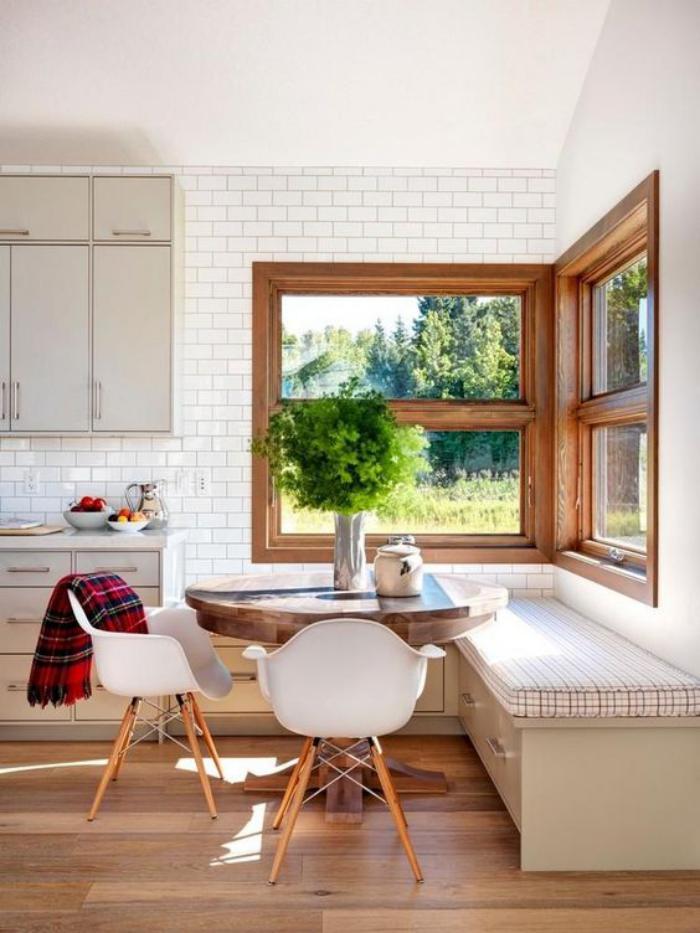 La cuisine blanche et bois en 102 photos inspirantes Coin cuisine avec banquette