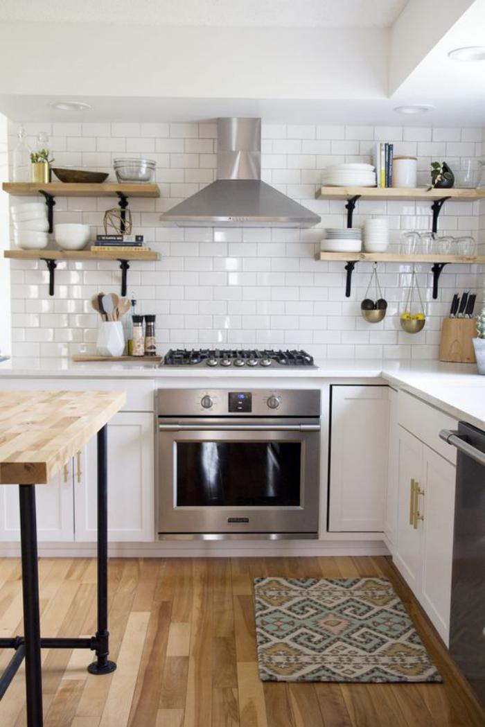 Cuisine Noir Et Blanc Et Bois : La cuisine blanche et bois en photos inspirantes