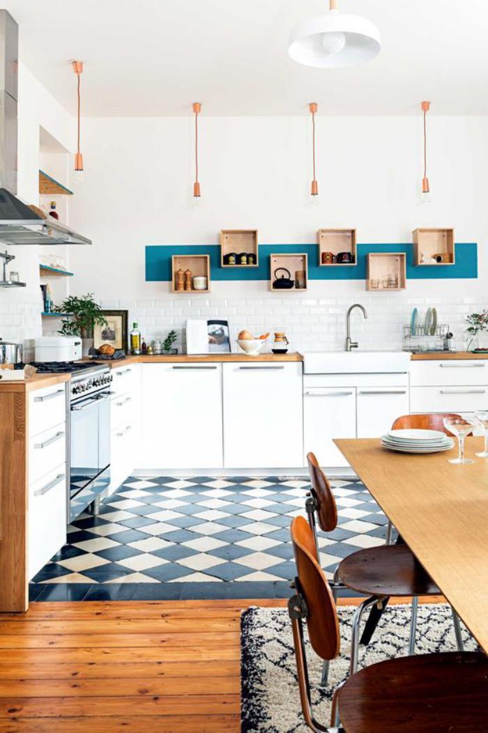 La cuisine blanche et bois en 102 photos inspirantes - Cuisine carreau de ciment ...