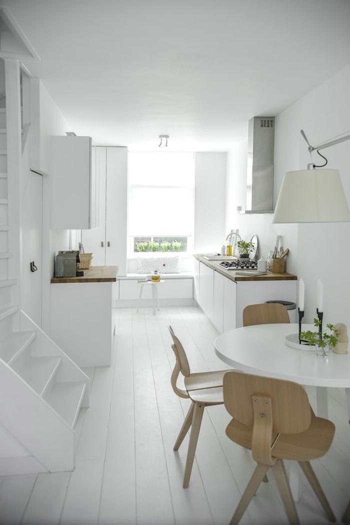 La cuisine blanche et bois en 102 photos inspirantes - Cuisine toute blanche ...