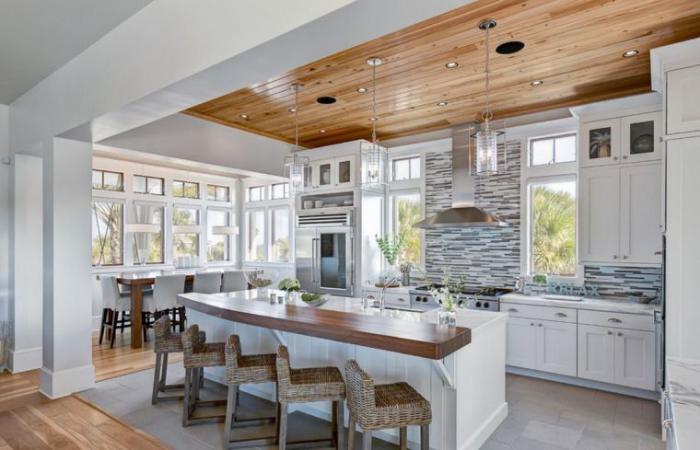 La cuisine blanche et bois en 102 photos inspirantes for Idee deco cuisine bois