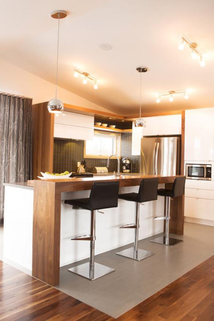 Deco Salon Moderne Classique : cuisine blanche et bois, cuisine contemporaine style scandinave