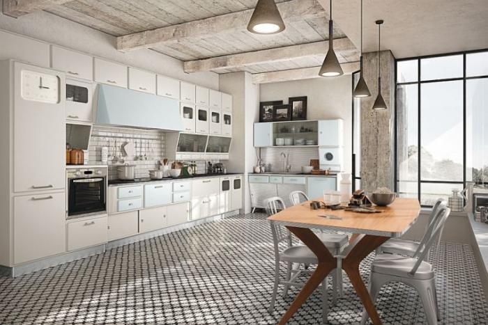 La cuisine blanche et bois en 102 photos inspirantes for Cuisine retro blanche