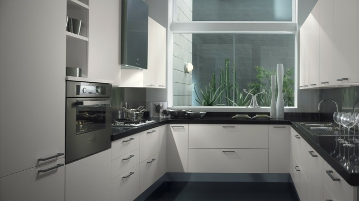 cuisine-blanche-et-inox-cuisine-blanche-carrelage-gris