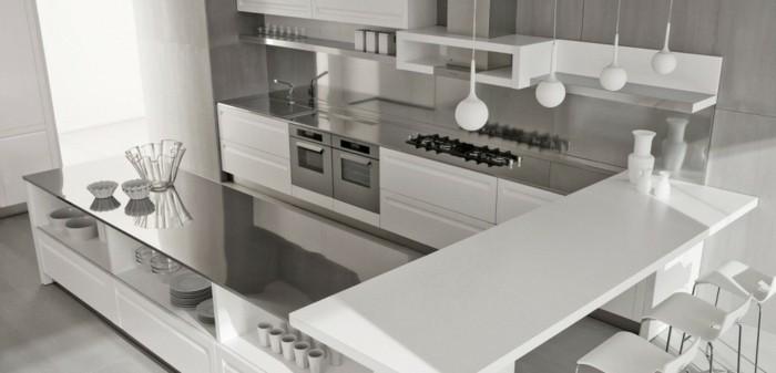 cuisine-blanche-et-inox-décoration-cuisine-blanche