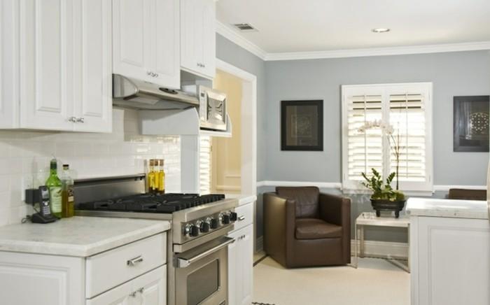cuisine-blanche-et-inox-meuble-de-cuisine-blanc-laqué-