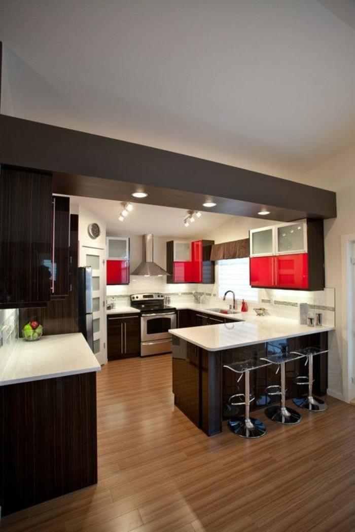 La cuisine en u avec bar voyez les derni res tendances - Cuisine rouge blanc ...