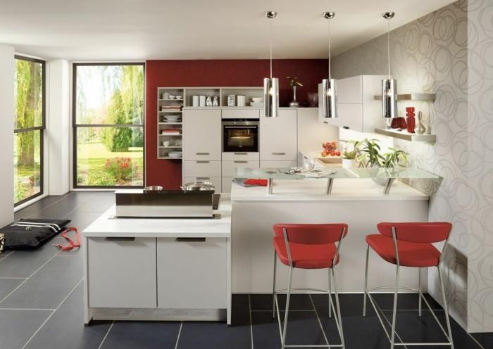 Cuisine En Marbre Rouge : Comment meubler votre cuisine semi ouverte