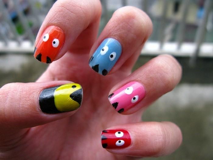 cute-decoration-ongle-original-ongles-originaux-pakman