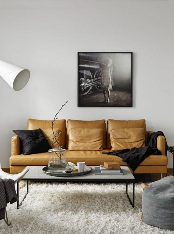 déco-appartement-étudiant-canape-en-cuir-beige-clair-tapis-blanc-idee-amenagement-salon
