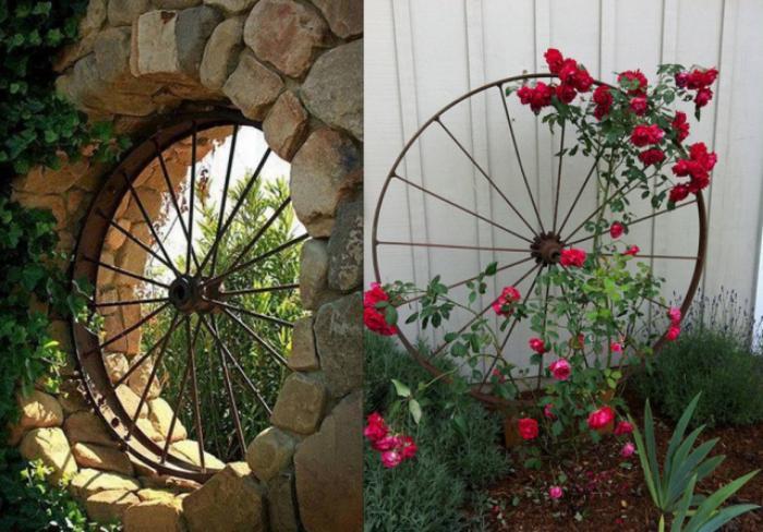 déco-jardin-récup-roue-rustique-décoration-objets-récup